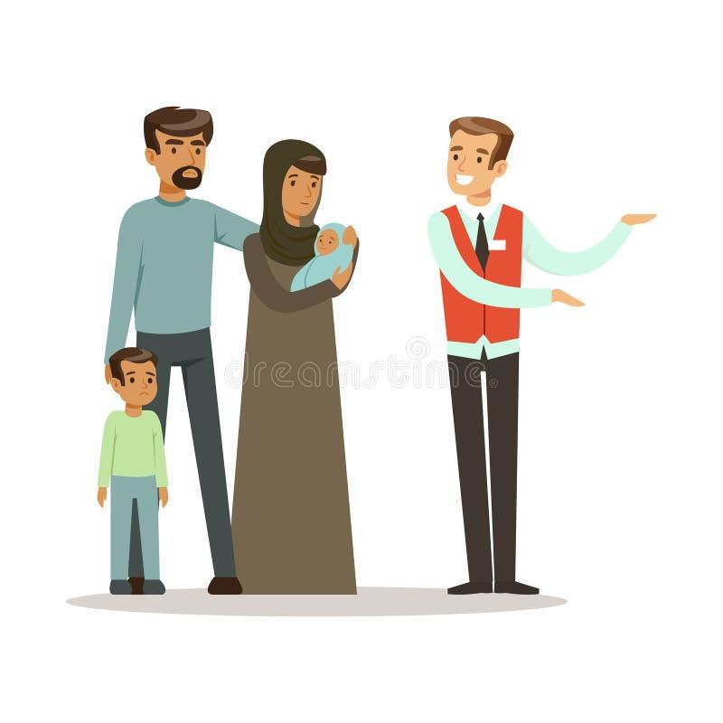 Statslös flyktingfamilj som talar med volontären som gör en välkommen gest, illustration för vektor för krigofferbegrepp royaltyfri illustrationer