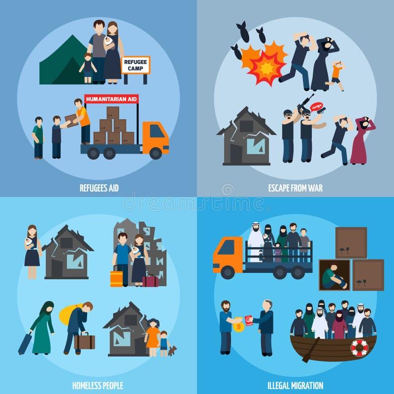 Statslös flyktinguppsättning stock illustrationer