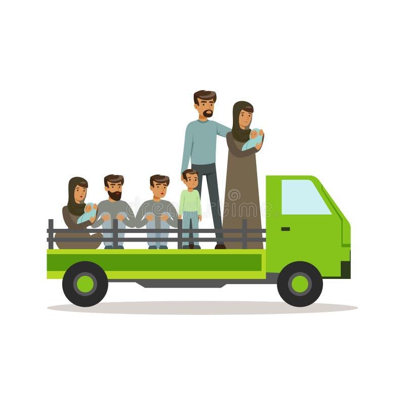 Statslösa flyktingar på en lastbil som försöker till det arga landet, gränsar, olaglig flyttning, illustration för vektor för kri royaltyfri illustrationer