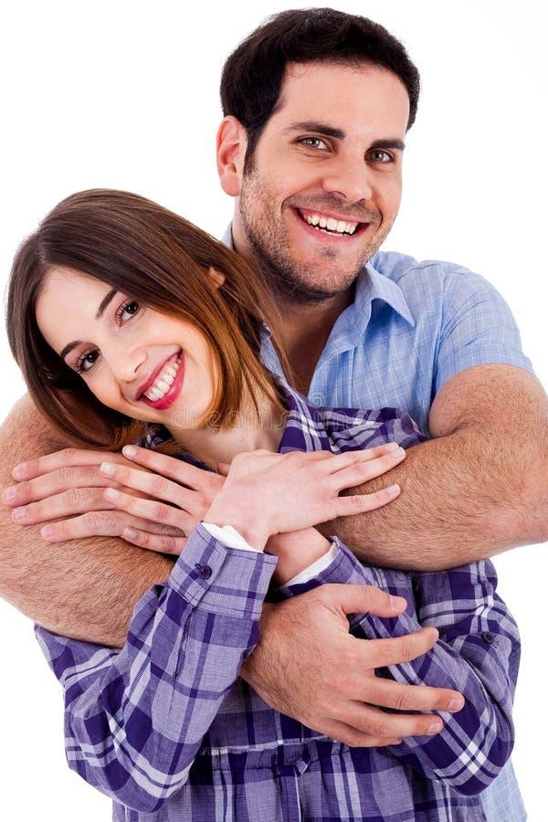 Stattliche männliche emcbracing Frau lizenzfreies stockfoto