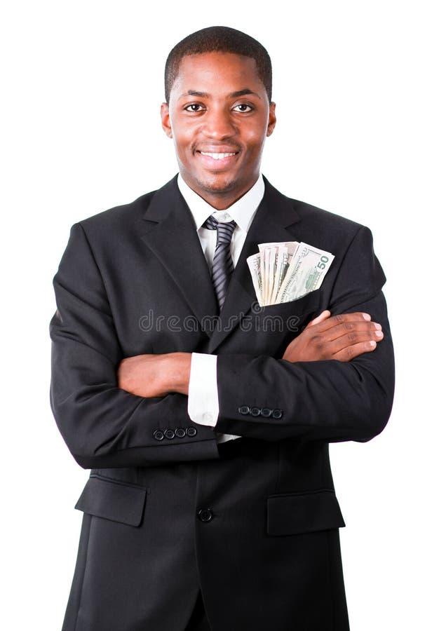 Stattlicher Geschäftsmann mit Dollar in einer Tasche lizenzfreies stockfoto