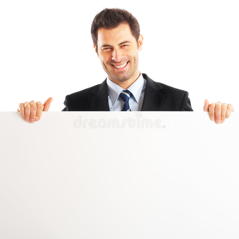 Stattlicher Geschäftsmann mit Zeichen lizenzfreie stockbilder