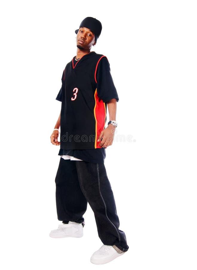Stattlicher Hip-hopjunger Mann auf Weiß lizenzfreies stockfoto