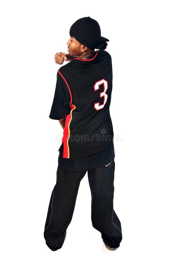 Stattlicher Hip-hopjunger Mann auf Weiß lizenzfreies stockbild