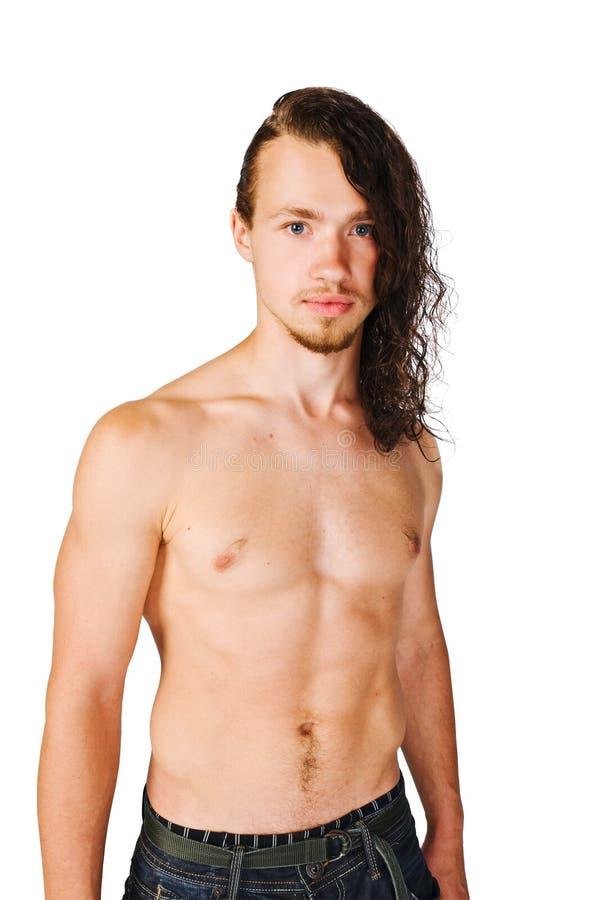 Stattlicher junger Mann auf Weiß lizenzfreies stockfoto
