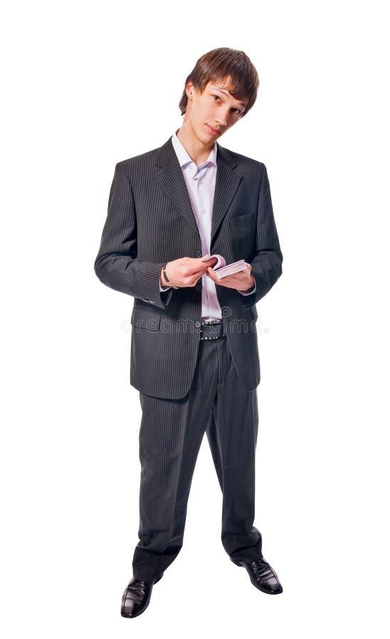 Stattlicher junger Mann auf weißem Hintergrund stockfotografie
