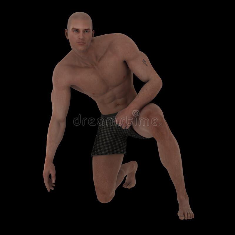 Stattlicher muskulöser junger Mann in den Boxern stock abbildung