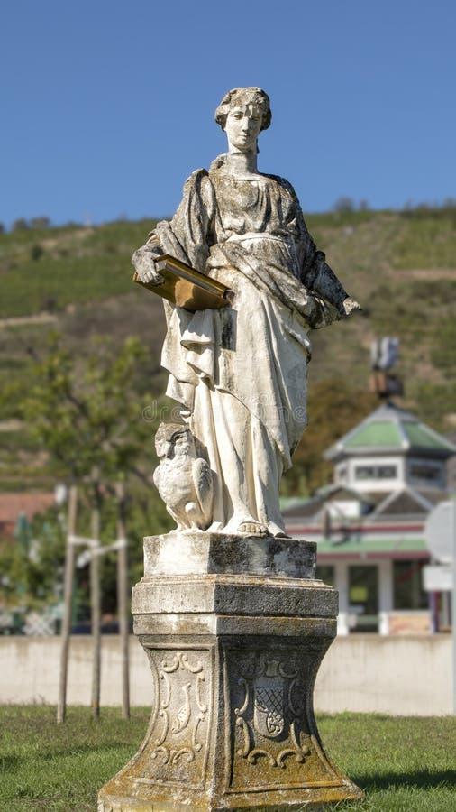 Statua Świątobliwy Jerome blisko Danube rzeki, Wachau dolina, Krems, Austria zdjęcia royalty free