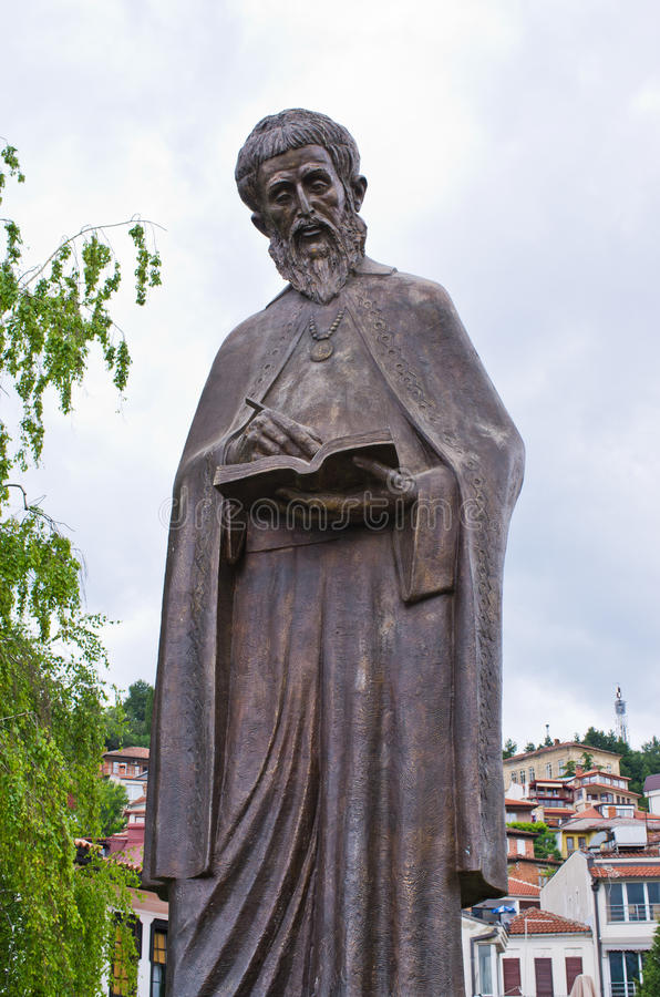 Statua święty Cyril, Ohrid -, Macedonia fotografia royalty free