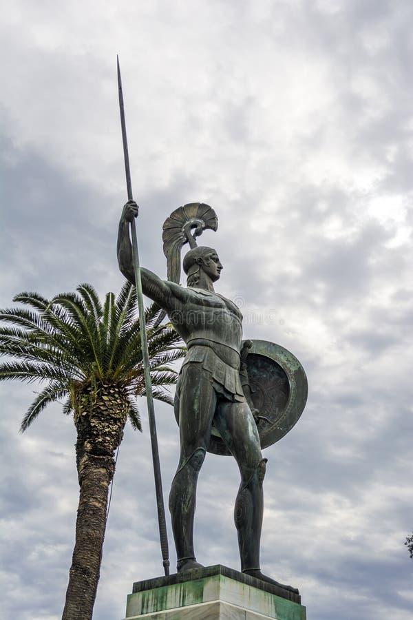 Statua Achilles w Achilleion pałac w Corfu wyspie, Grecja obrazy stock