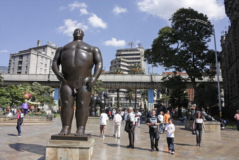 Statua 'Adan'. Botero kwadrat, Medellin. obraz royalty free