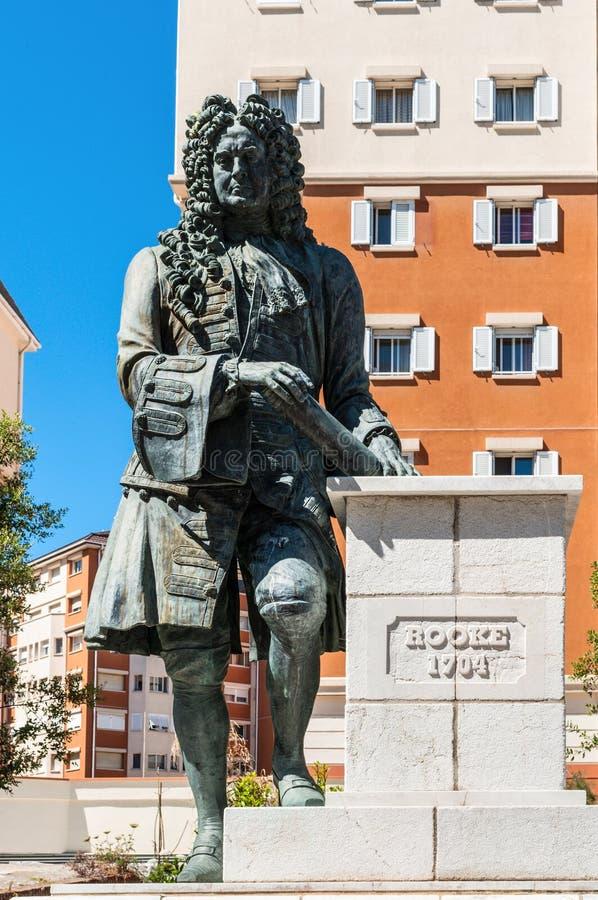 Statua Admiral Sir George Rooke w Gibraltar obraz stock