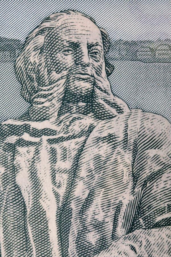 Statua Aivazovskiy od Armeńskiego pieniądze obrazy stock