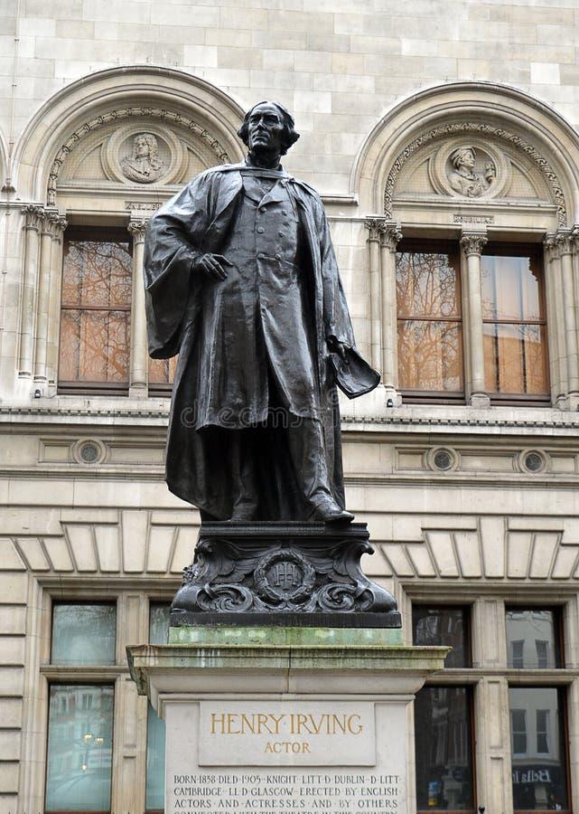 Statua aktor, Sir Henry Irving, Londyn fotografia royalty free