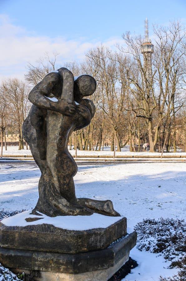 Statua al parco di Petrin a Praga fotografie stock