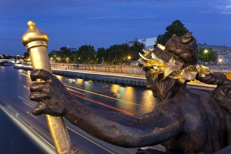 Statua Aleksander III most zdjęcie stock