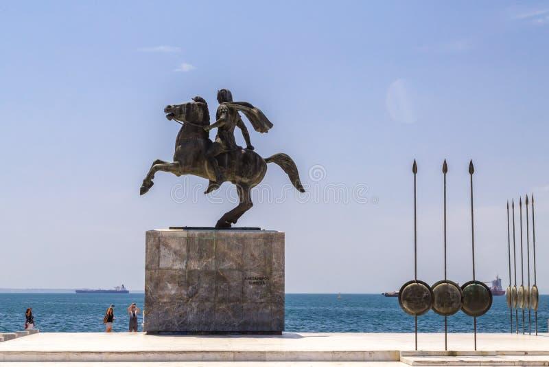 Statua Aleksander Wielki Macedon na wybrzeżu Saloniki, Grecja fotografia royalty free