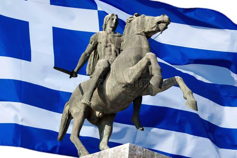 Statua Aleksander Wielki przy Saloniki miastem, Grecja obraz royalty free