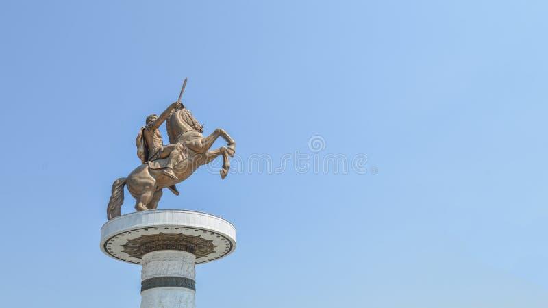 Statua Aleksander Wielki w śródmieściu Skopje, Macedonia obraz stock
