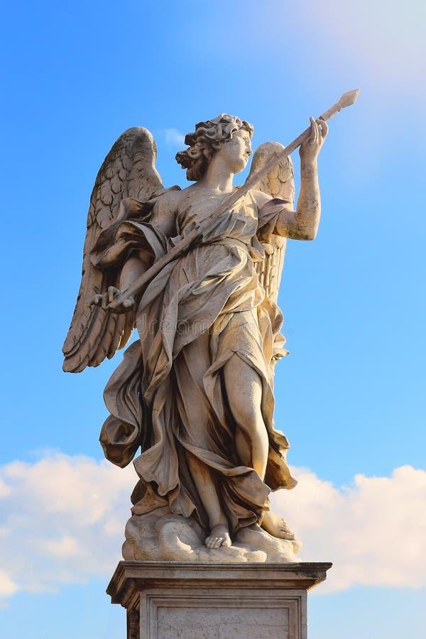 Statua anioł na bridżowym Sant ` Angelo, Rzym zdjęcia stock