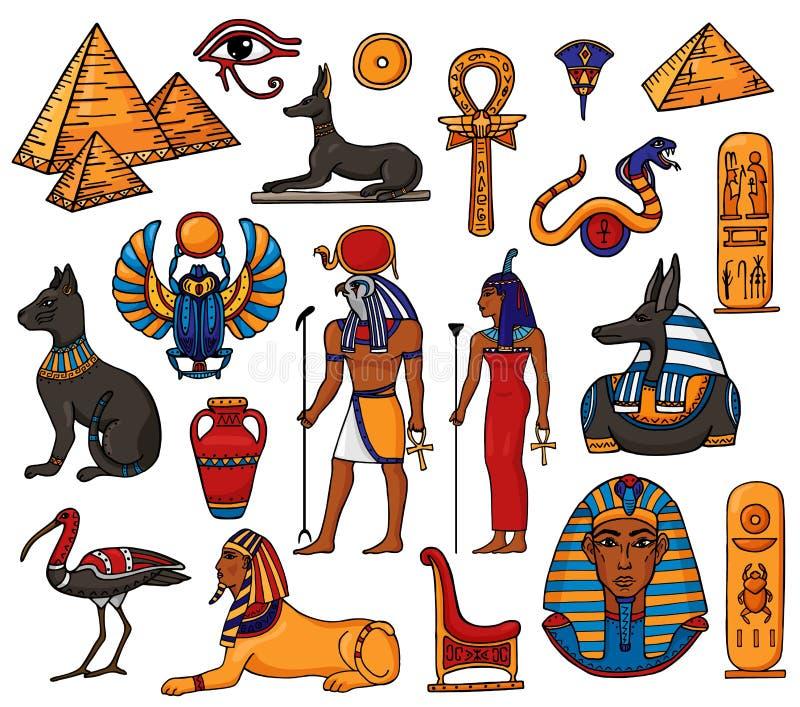 Statua antica del gatto della sfinge della piramide del Ra del dio della donna dell'uomo di vettore del carattere egiziano di far illustrazione di stock