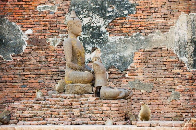 Statua antica di Buddha alle rovine Prang Sam Yot, originalmente un santuario indù, convertito buddista in Lopburi, la Tailandia fotografia stock