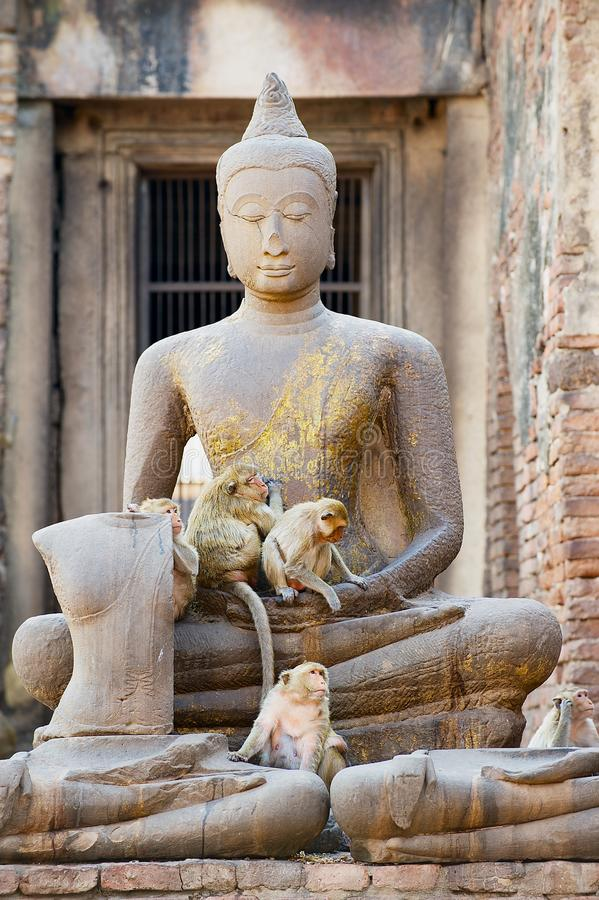 Statua antica di Buddha alle rovine Prang Sam Yot, originalmente un santuario indù, convertito buddista in Lopburi, la Tailandia fotografia stock libera da diritti