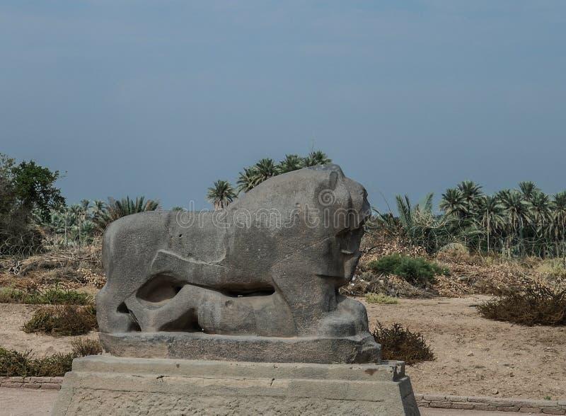 Statua Babiloński lew w Babylon rujnuje Irak zdjęcia stock