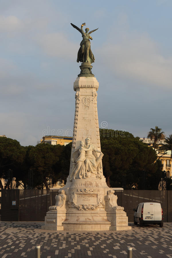 Statua bogini Nike Los Angeles Ville De Ładny los angeles Francja w Ładnym, Fra obrazy stock