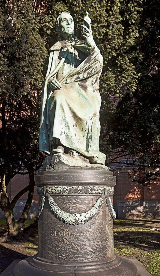 Statua bronzea di Copenhaghen, Danimarca - di Georg Zoega fuori del Ny C fotografia stock libera da diritti