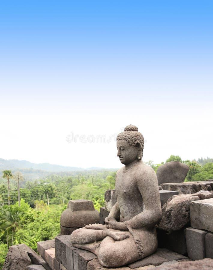 Statua Buddha, Borobudur Buddyjska świątynia, Jawa wyspa, Indone zdjęcie stock