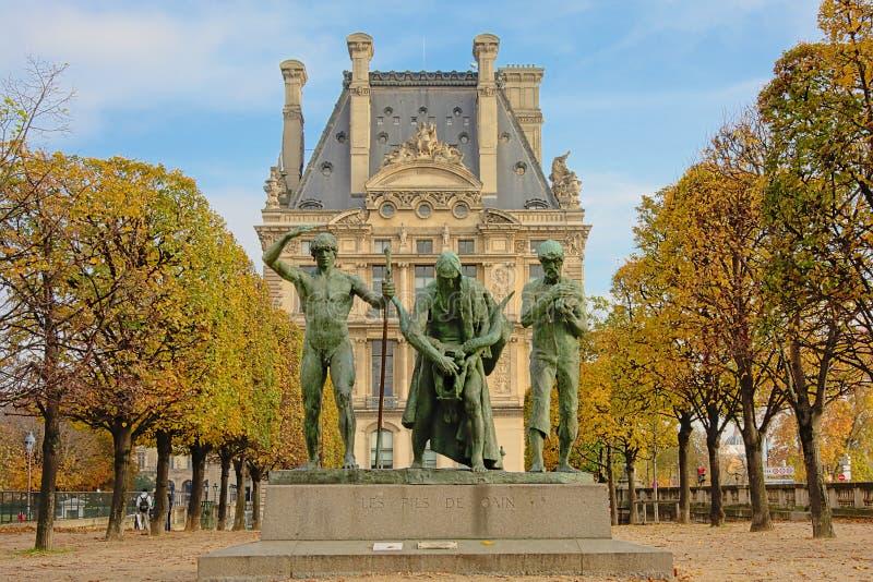 Statua Cain i jego synowie w Tuileries parku, Paryż, Francja obraz stock