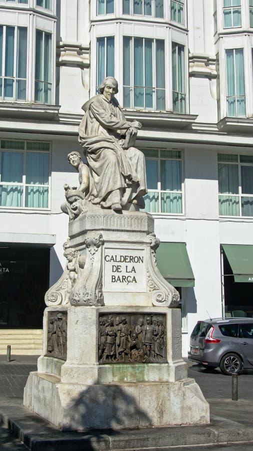 Statua Calderon De los angeles Barca na Placu De Santa Ana, Madryt obrazy stock