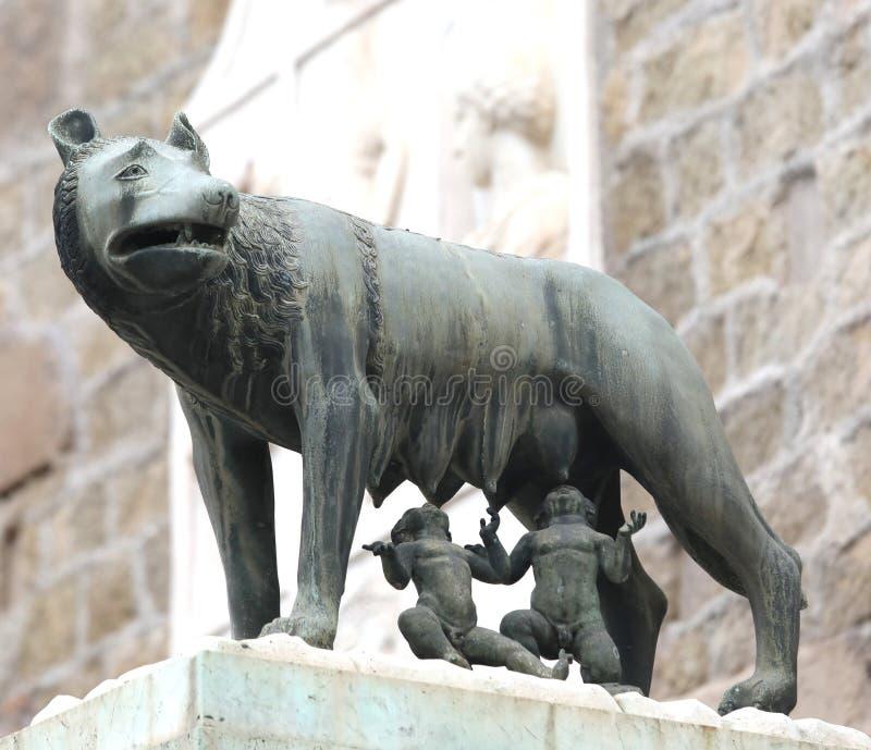 Statua capitoline wilk także dzwonił LOS ANGELES LUPA w włoszczyźnie Languag obraz stock