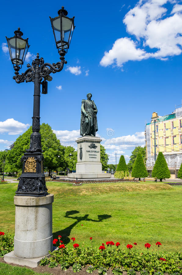 Statua Carl XIV Norrkoping, Szwecja zdjęcia stock