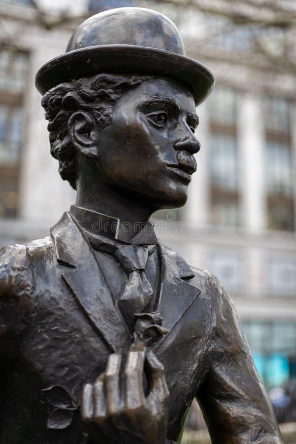 Statua Charlie Chaplin w Leicester kwadracie Londyn na Marzec 11, 2019 zdjęcie stock