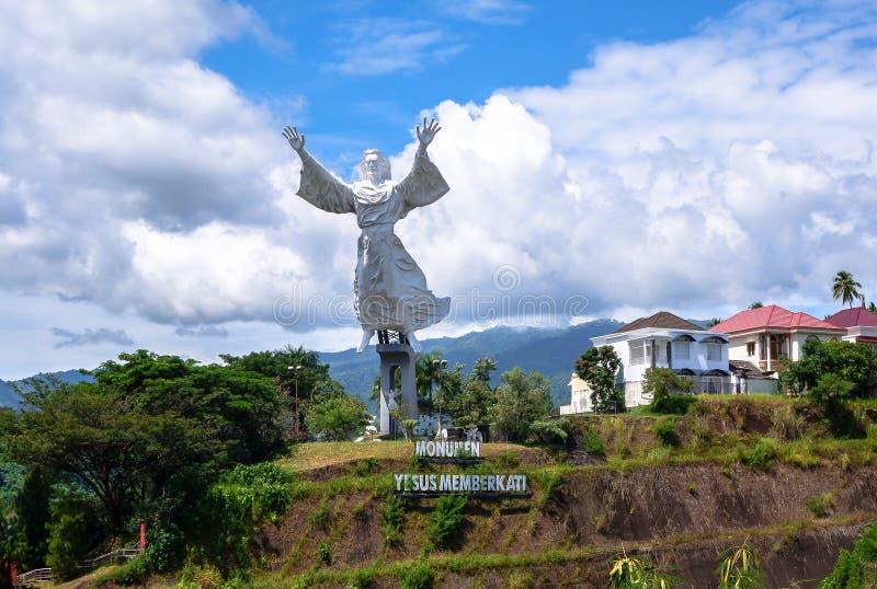 Statua Chrystus błogosławieństwo w Manado, Północny Sulawesi obraz royalty free