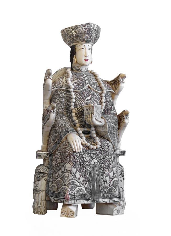 Statua cinese antica dell'avorio isolata fotografia stock libera da diritti