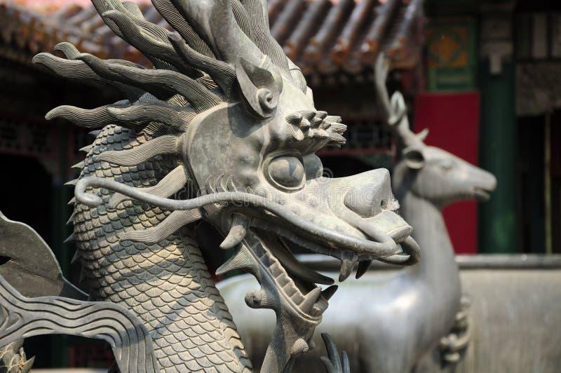 Statua cinese Pechino Cina del drago fotografie stock