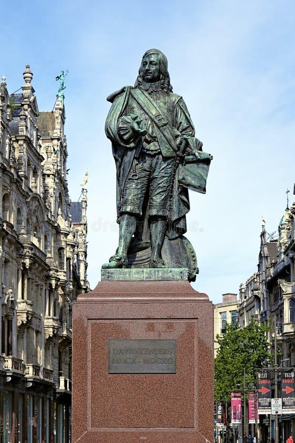 Statua David Teniers Młody w Antwerp, Belgia zdjęcia royalty free