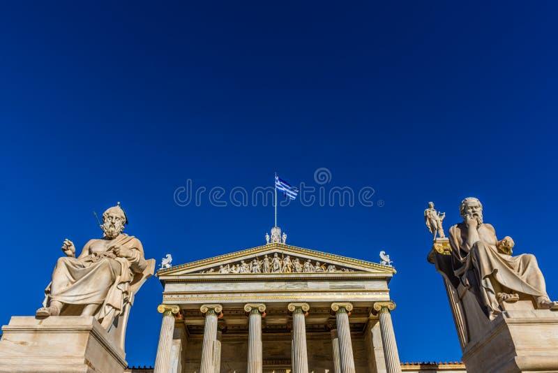 Statua dei filosofi greci Socrates & Platone immagini stock