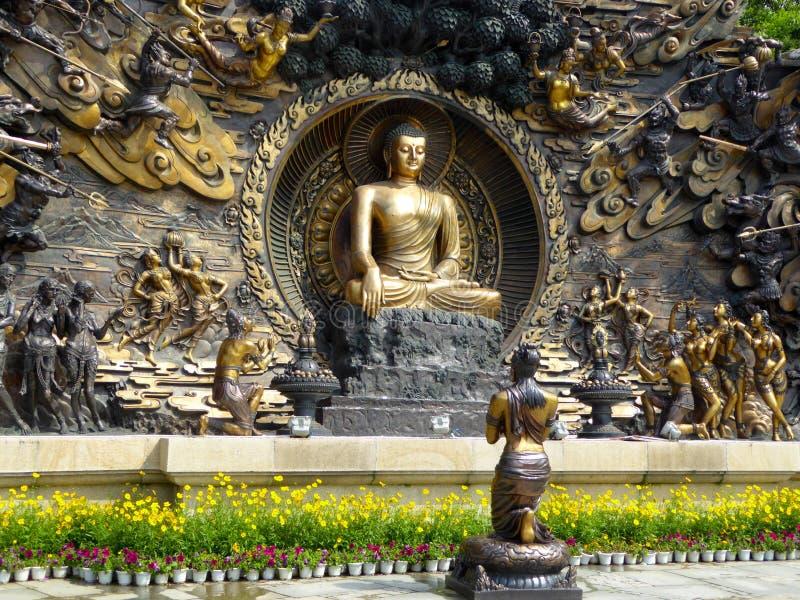 Statua dei murali di Buddha a Lingshan fotografie stock libere da diritti