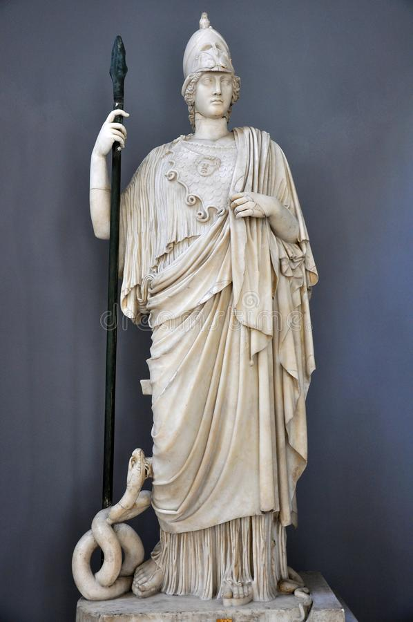 Statua del Athena a Vatican, Italia   immagini stock libere da diritti