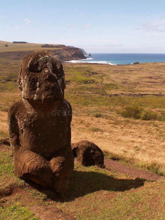 Statua del bambino sull'isola di pasqua fotografia stock