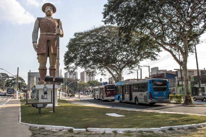 Statua del Bandeirante Borba Gato in sao Paolo, Brasile immagini stock