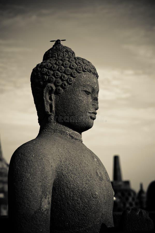 Statua del Buddha al tempiale di Borobudur, Java, Indonesia immagini stock