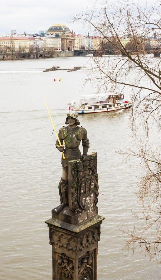 Statua del cavaliere leggendario Brunzwick, il guardiano magico fotografie stock libere da diritti