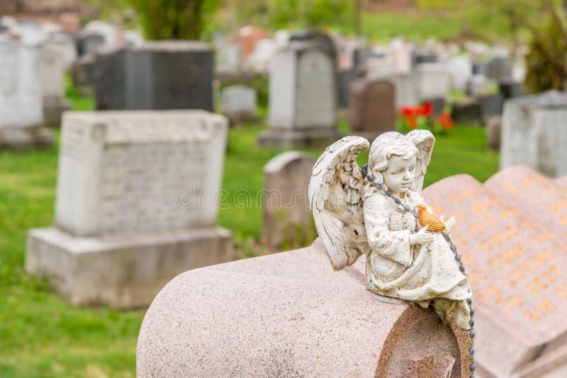 Statua del cherubino che tiene un uccello e che si siede su una lapide immagine stock libera da diritti