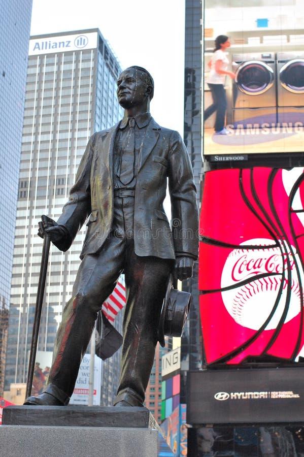 Statua del George M. Cohan in Times Square fotografia stock