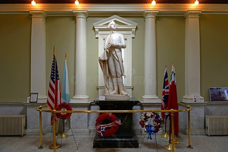 Statua del labirinto in monumento della collina di bunker, Boston immagine stock libera da diritti